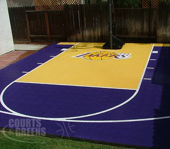 A Custom Backyard Half Court Basketball Court For The True Lakers Fan In Bakersfield Basketball Court Backyard Outdoor Basketball Court Home Basketball Court