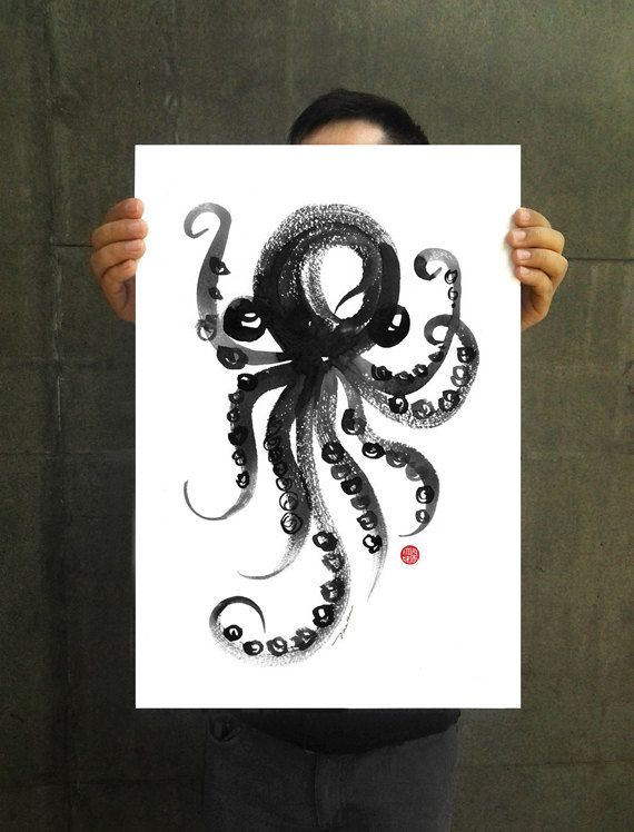 Octopus watercolor art large poster octopus ink painting nautical artwork sea life art black white art 11x14 13x19 buy 2 get 1 free