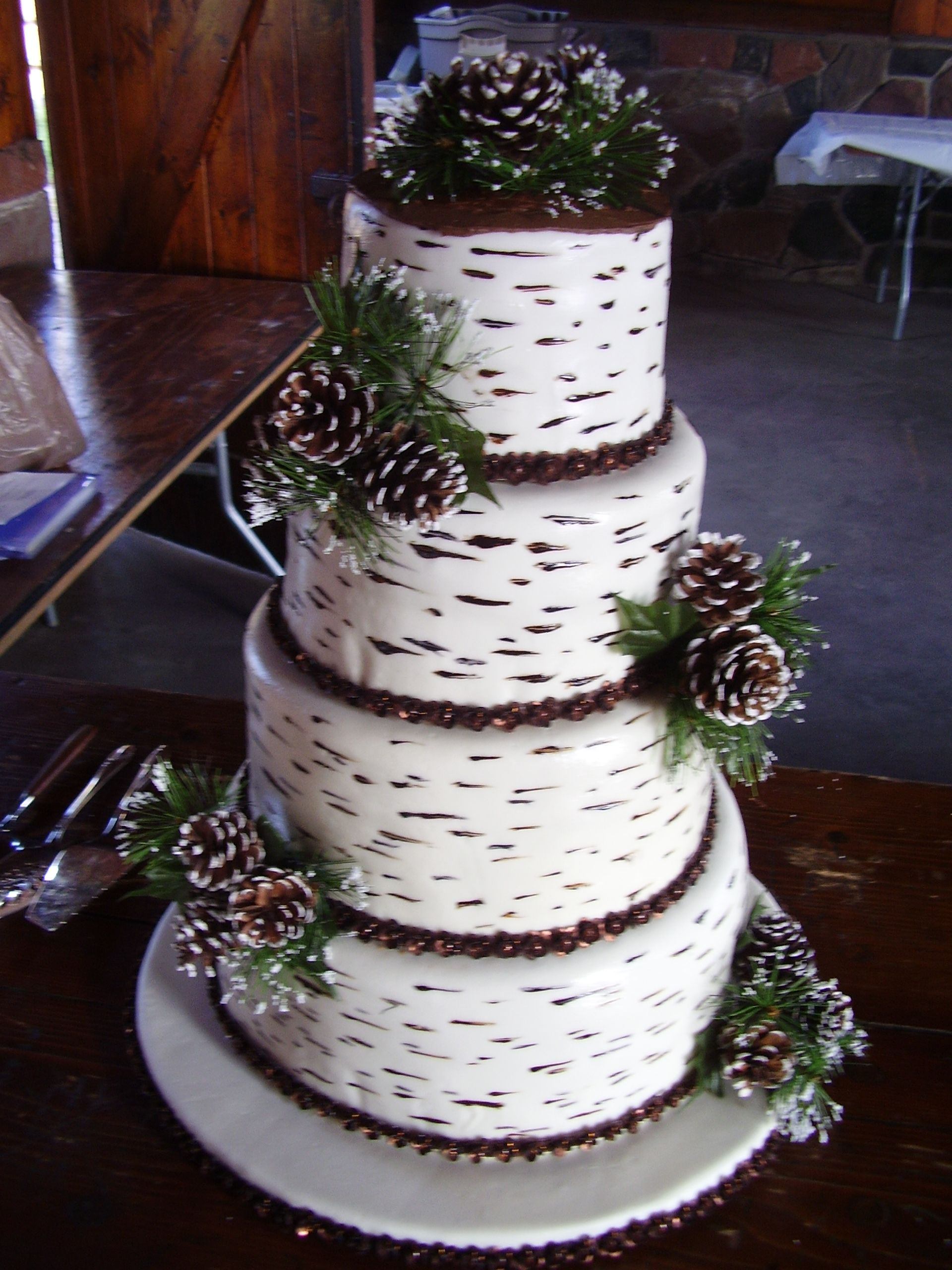"Birch Bark wedding cake - Easiest cake ever!  Toothpick with brown and black gel color made the birch bark look.  Bride and groom were married in a National park and had a very ""woodsy"" wedding.  It was perfect!"