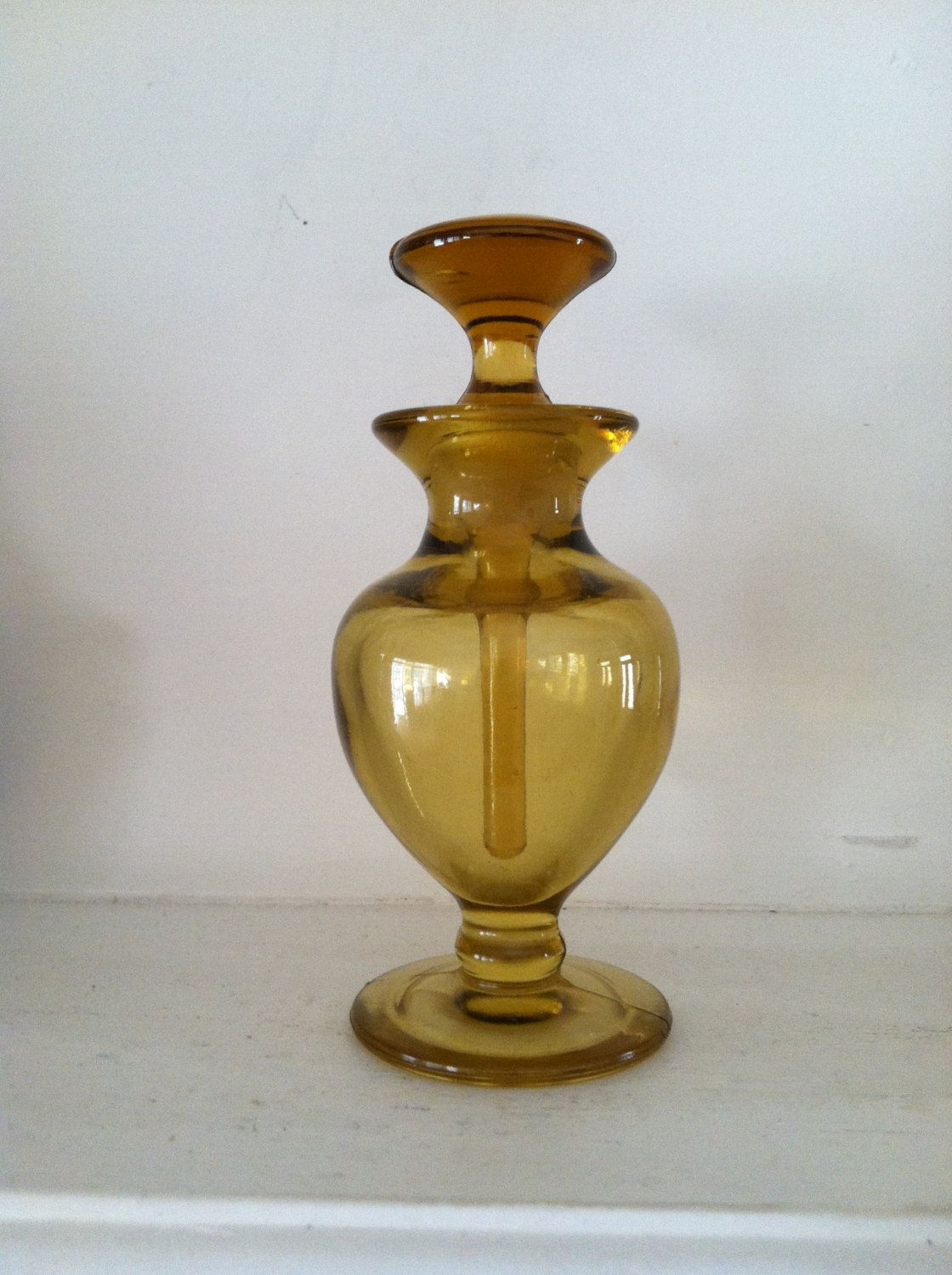 """New Martinsville Perfume """"Mysterious"""" 1926 Amber Glass."""