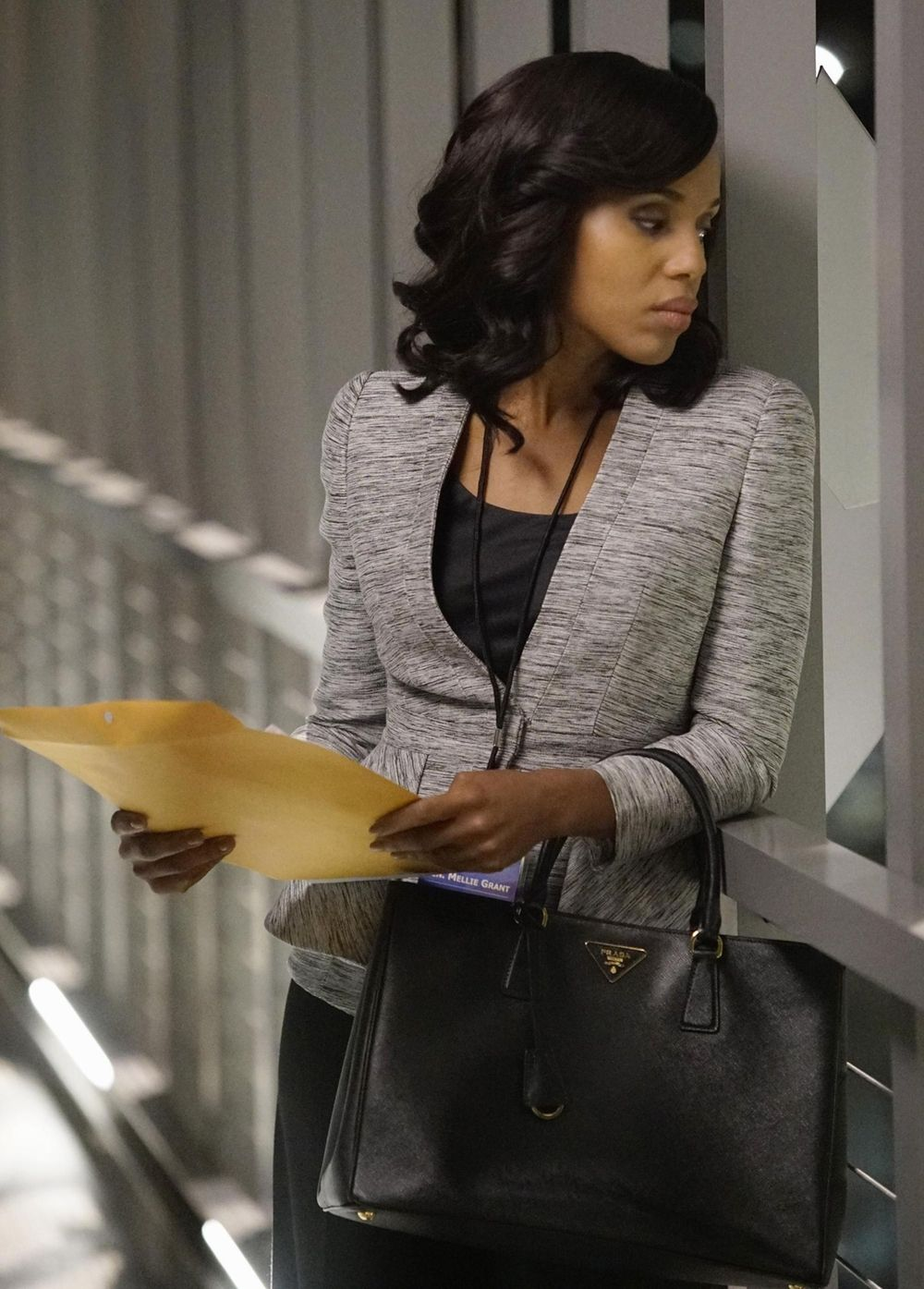 23fc00c7df01a5 Kerry Washington with Alexander McQueen Fold Peplum Jacket in Scandal -  Season 5 Episode 15