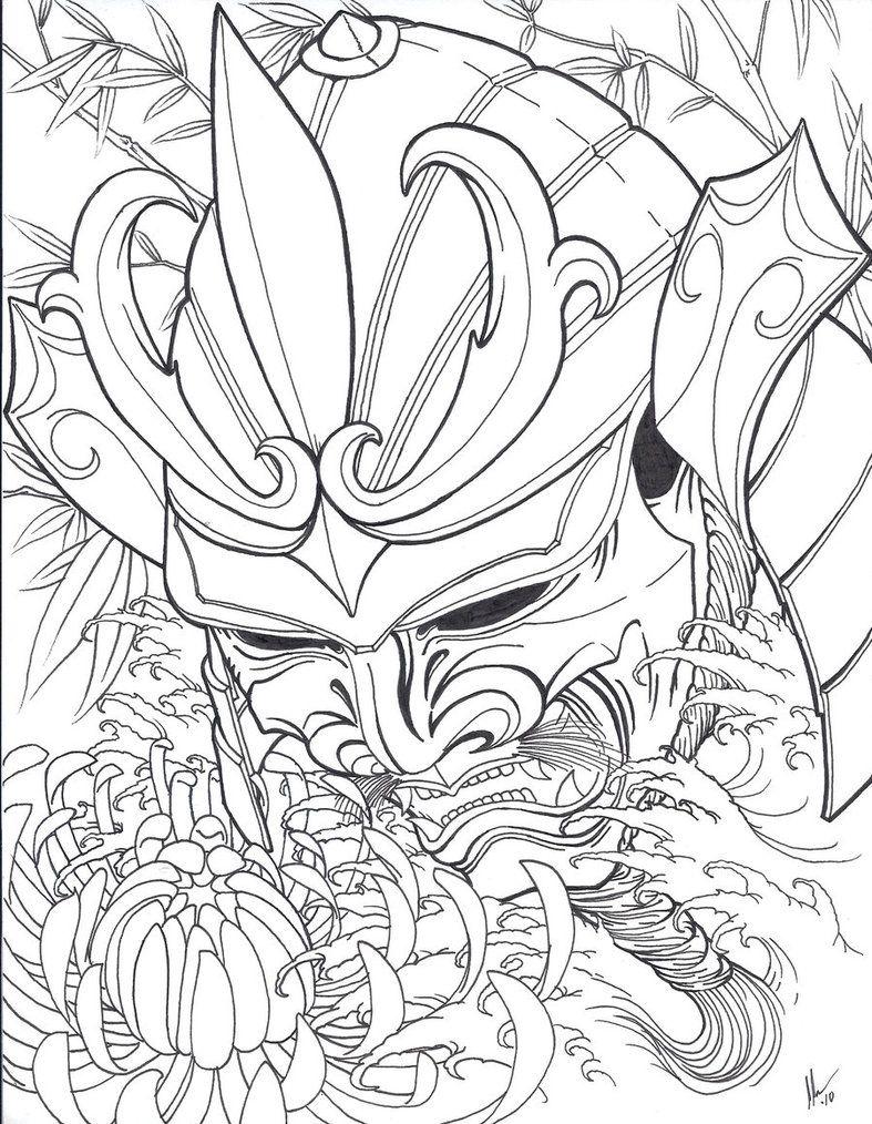 Samurai Head Flash Samurai Drawing Japanese Tattoo Art Samurai Mask Tattoo