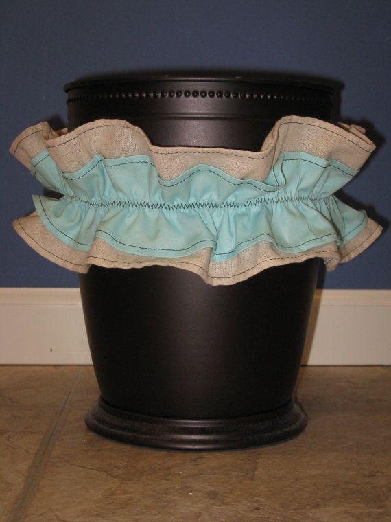 Trash Can Waist Basket Bath Bathroom Accessories Ruffle Custom ...