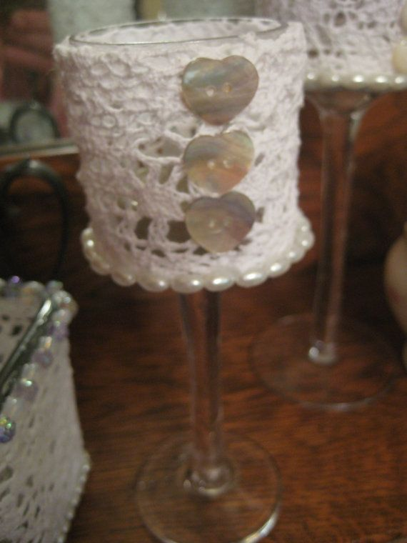 Glass Votive with White Lace Heart Buttons by thooker on Etsy, $12.00