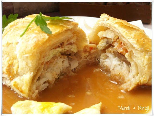 Mandil perejil hojaldre de bacalao sobre crema de gambas con receta recetas pescado - Cocinar bacalao congelado ...