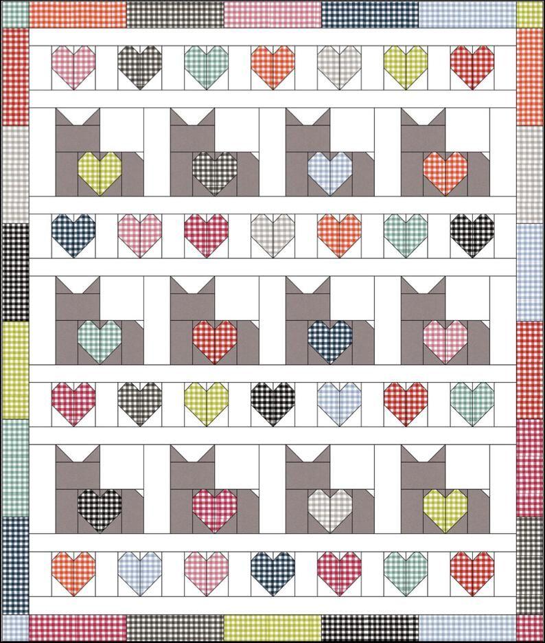 I Love Cats PDF Quilt Pattern, Digital Quilt Patte