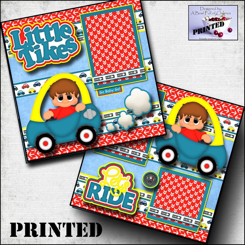 Little Tikes Boy Car Printed 2 Premade Scrapbook Pages Paper