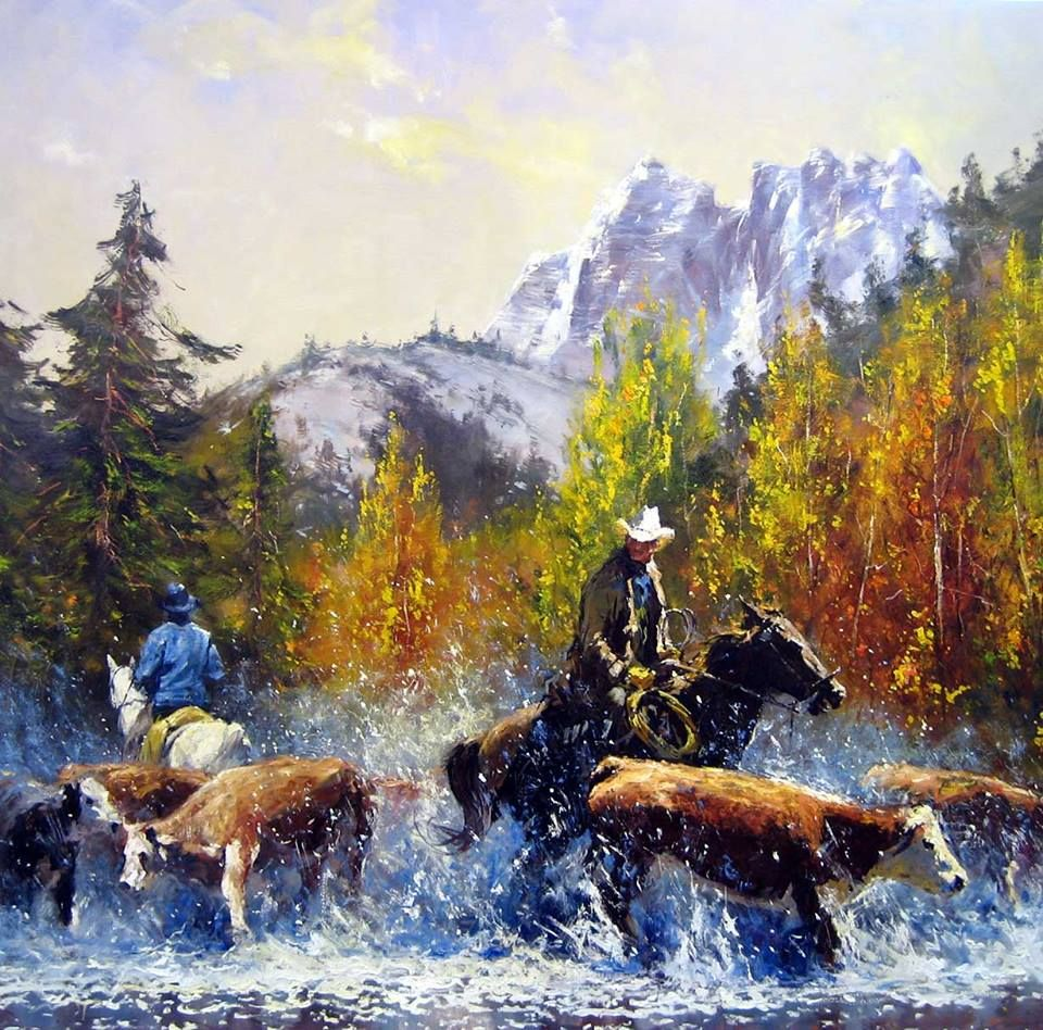 Oil on canvas painting is by artist Robert Hagan from