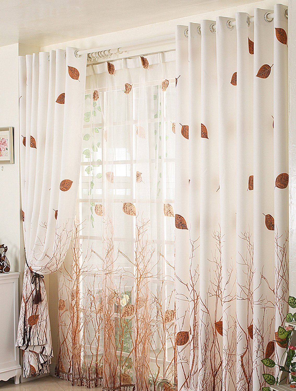 Attrayant Amazon.com: ElleWeiDeco Modern Autumn Leaf Tree Branch Sheer Window Curtain/ Drape/panel (Brown, 52Wx84L): Kitchen U0026 Dining