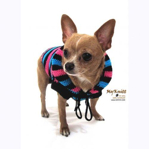 sexy black blue and pink dog hood sweater #myknitt #handmade #diy #crochet #dog #chihuahua