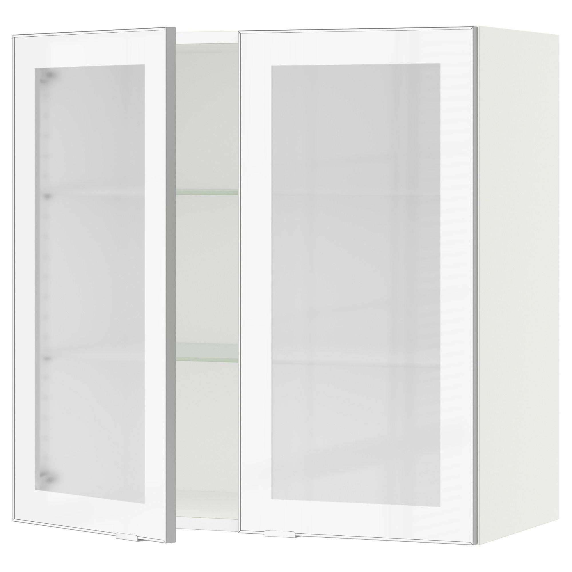 IKEA   SEKTION White Wall Cabinet With 2 Glass Doors Frame Colour: