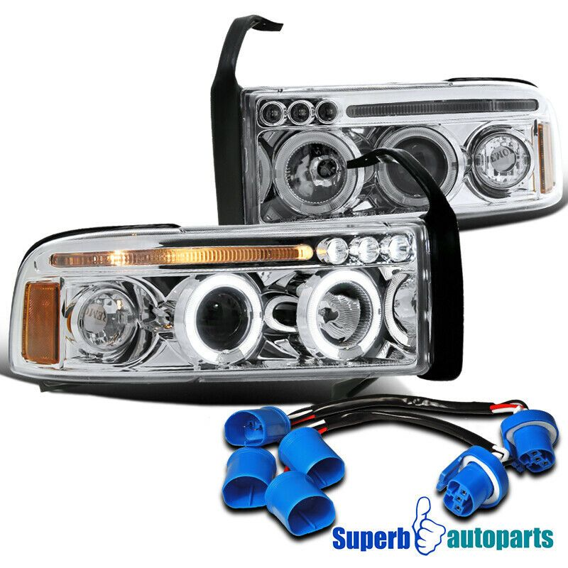 Ad Ebay 1999 2001 Dodge Ram Sport Pack Led Halo Projector Headlights Chrome Clear Dodge Ram Sport Ram Sport Projector Headlights