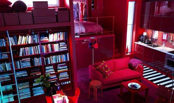 Wohnzimmer Design Ideen IKEA rot Wohntrends Pinterest - wohnzimmer ideen rot
