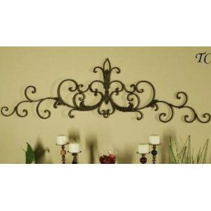 Iron Scroll Wall Decor | Wrought Iron Tuscan Scroll Wall Grille Door Topper  Pediment Swag Grill