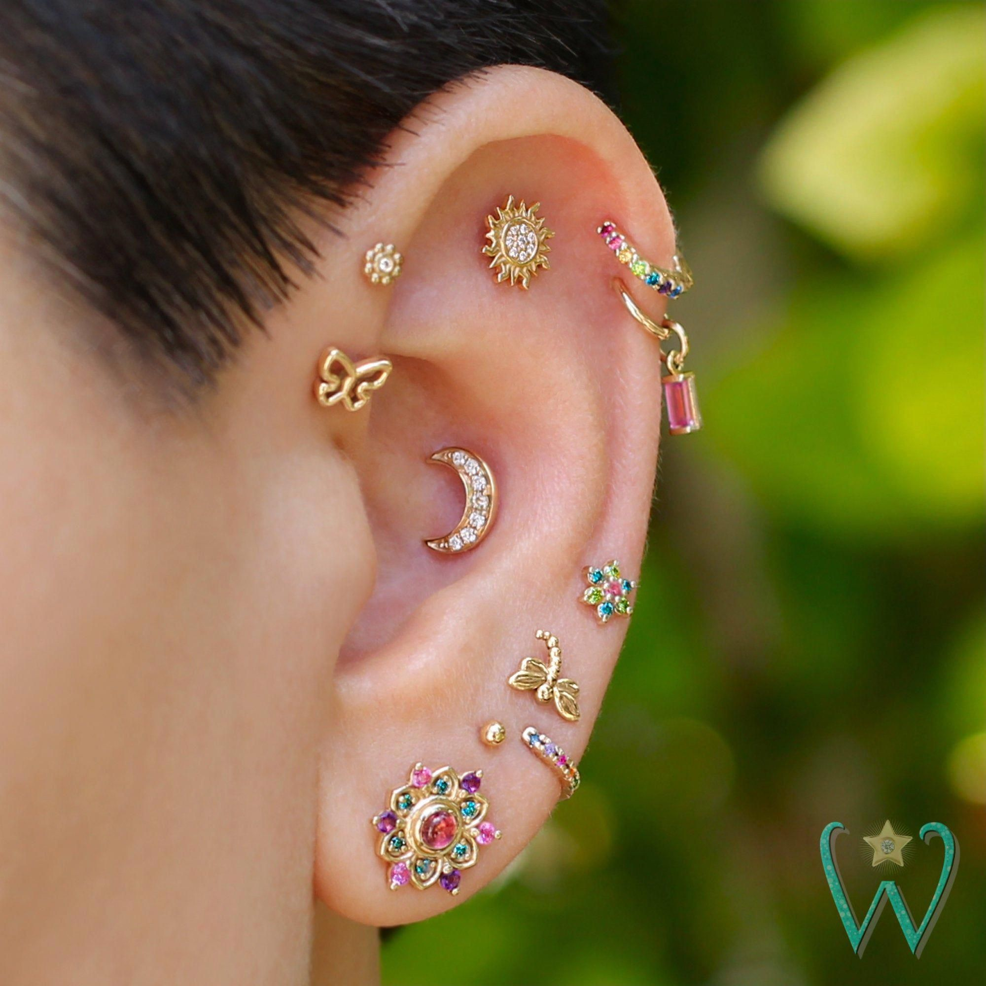 Photo of Diamond Crescent Moon Earring, Moon Earrings, Stud Earrings, Cartilage Earring, …