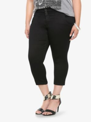 Torrid Cropped High Waist Pant - Black Luxe