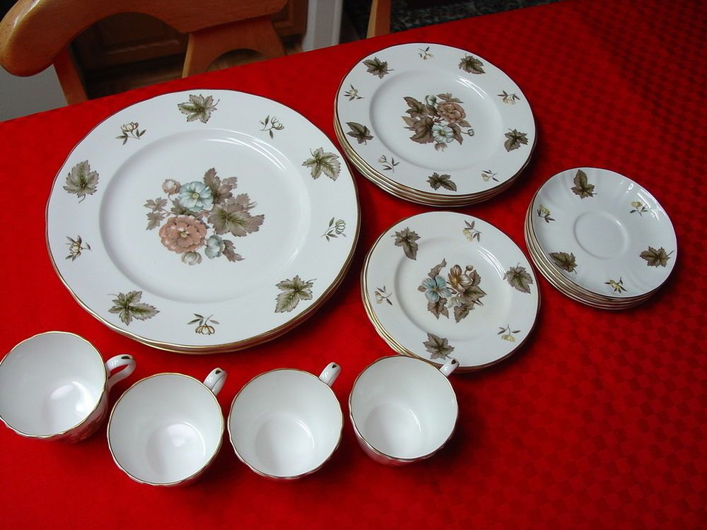 20 Pc Dishes Royal Worcester Dorchester Bone China Blues Browns