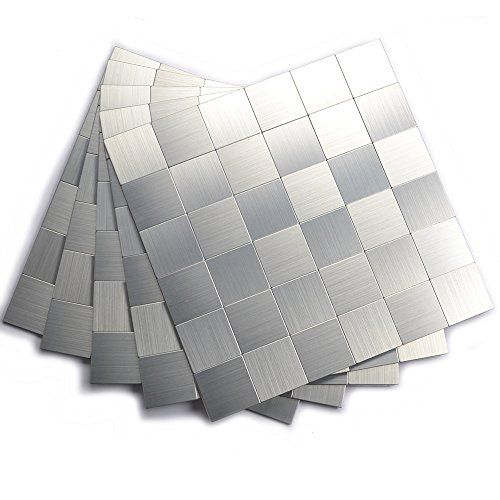 Peel And Stick Kitchen Backsplash Adhesive Metal Tiles For Wall12x12 Inch Brushed Aluminum Check Out With Images Stick Tile Backsplash Stick On Tiles Metallic Wall Tiles