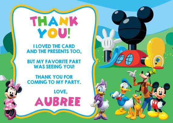 Mickey Mouse Clubhouse Thank You Card Mickey Mouse Clubhouse