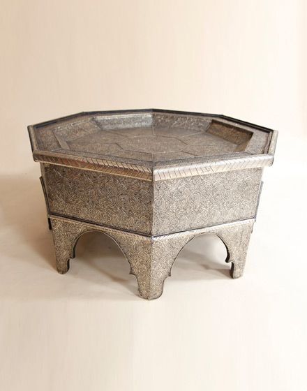 Lovely White Metal Octagonal Moroccan Coffee Table