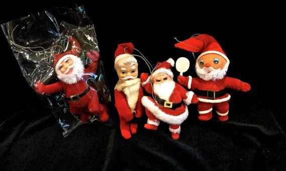 Vintage Flocked Santa 4 Ornaments Plastic by VintagePrairieHome