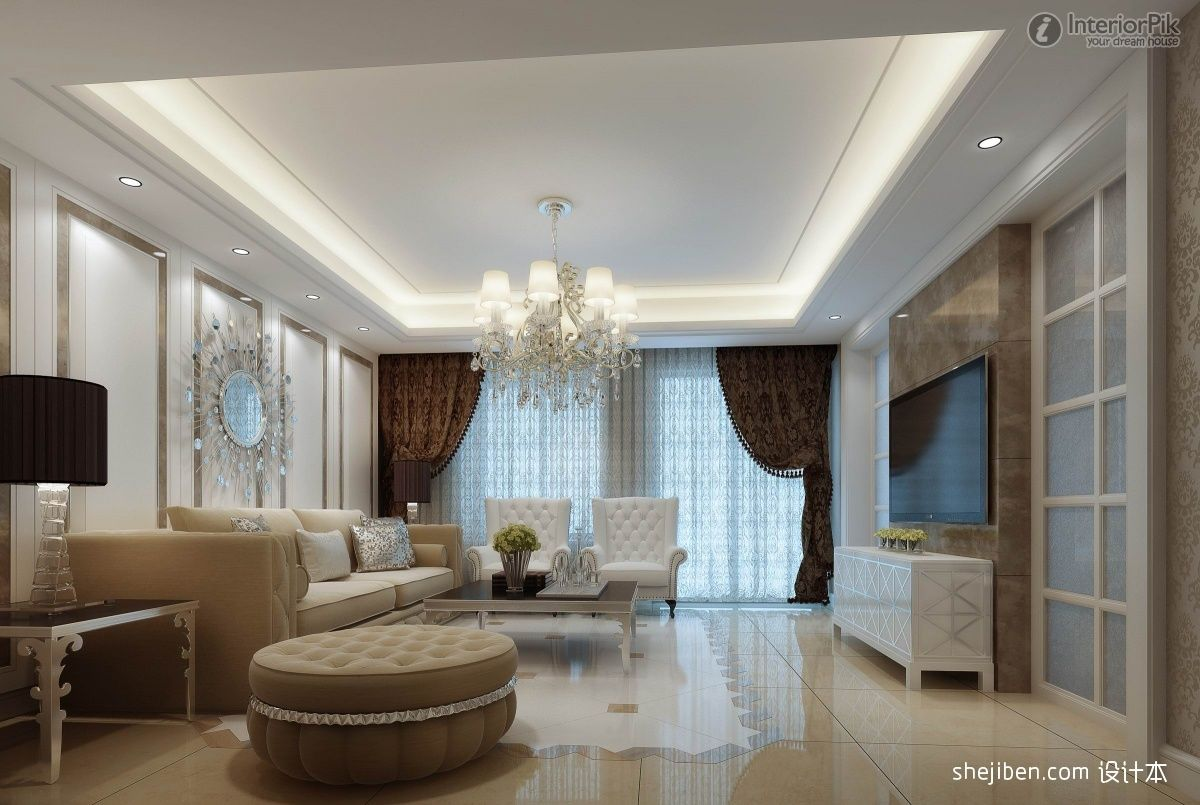 Gypsum board ceiling luxury living room family