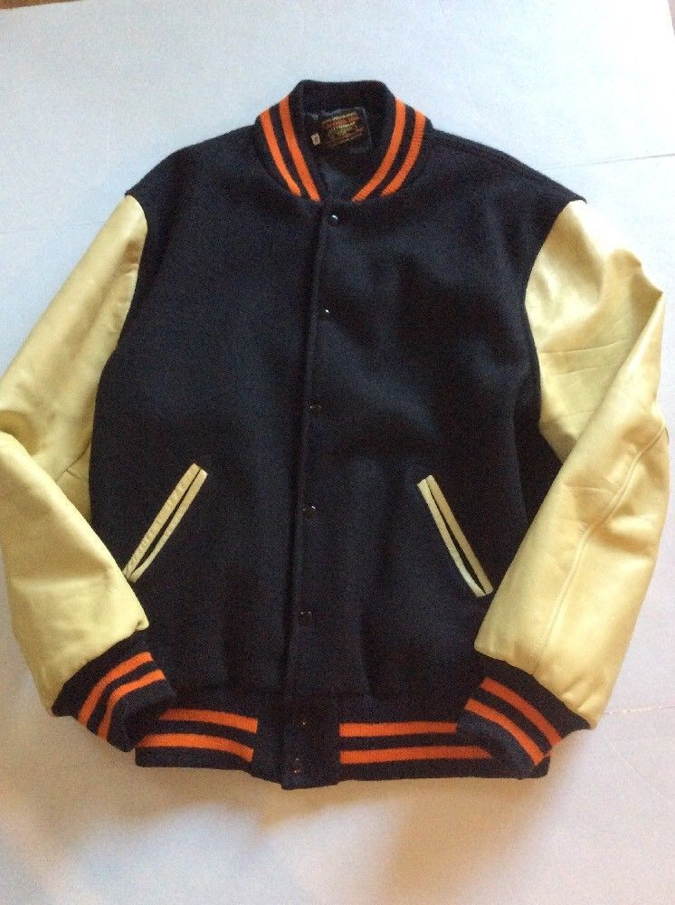 8f562bf5 Skookum Varsity Letterman Jacket Sz 46 Wool Leather Vintage Black Orange  #Skookum #VarsityJacket
