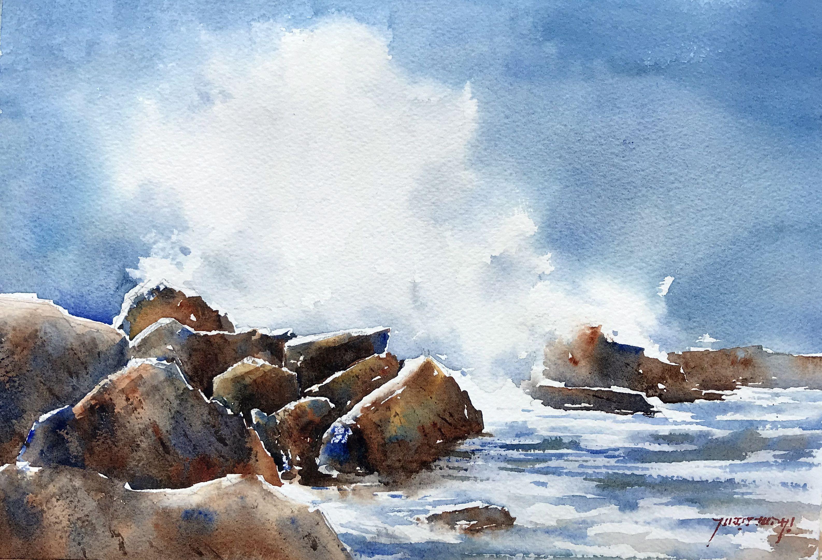 Rocks And Sea Watercolor Ocean Coastal Watercolor Landscape