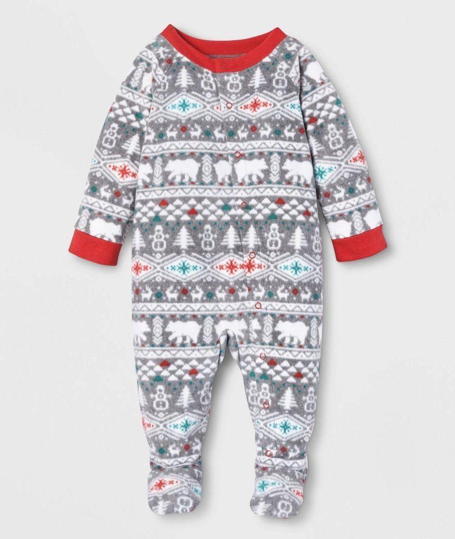 Winter baby polar bear pajamas Baby christmas pajamas