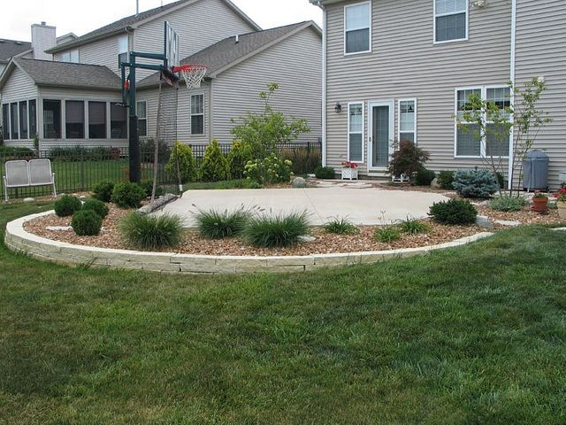 Backyard Basketball Court and landscaping idea Good because it is a  patio...then drop in hoop, or tot pool,or three wheeler, Little Tykes . - Dream Backyard Basketball Court Outdoor Living Backyard