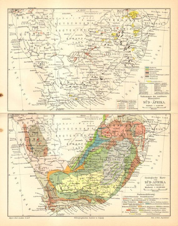 Gold In South Africa Map.1905 Original Antique Geological Map Of South Africa