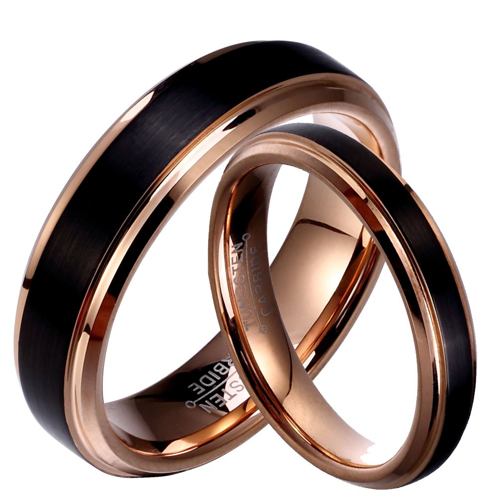 29877c6078 Soul Men 1 Pair Tungsten Carbide Wedding Band Black & Rose Gold Color Couple  Rings Set 6mm for Male 4mm for Female