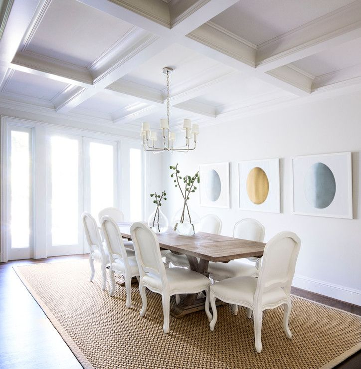 Painting Dining Room Chandelier: Gorgeous Dining Room Features Coffered Ceiling Accented
