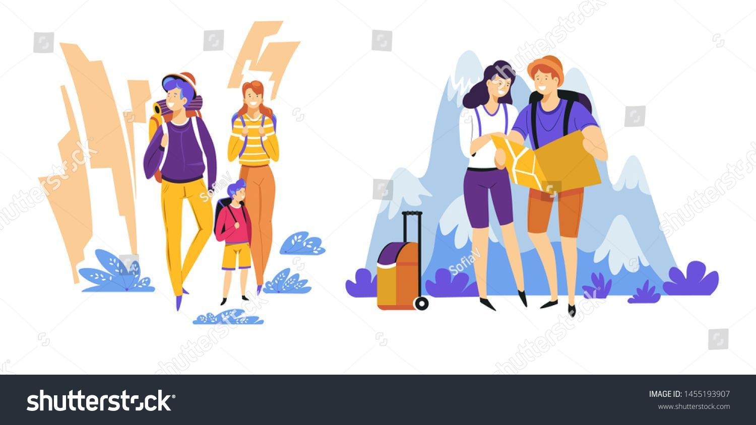 Travelers Couple Family Tourism Traveling Vacation Stock Vector (Royalty Free) 1455193907 -