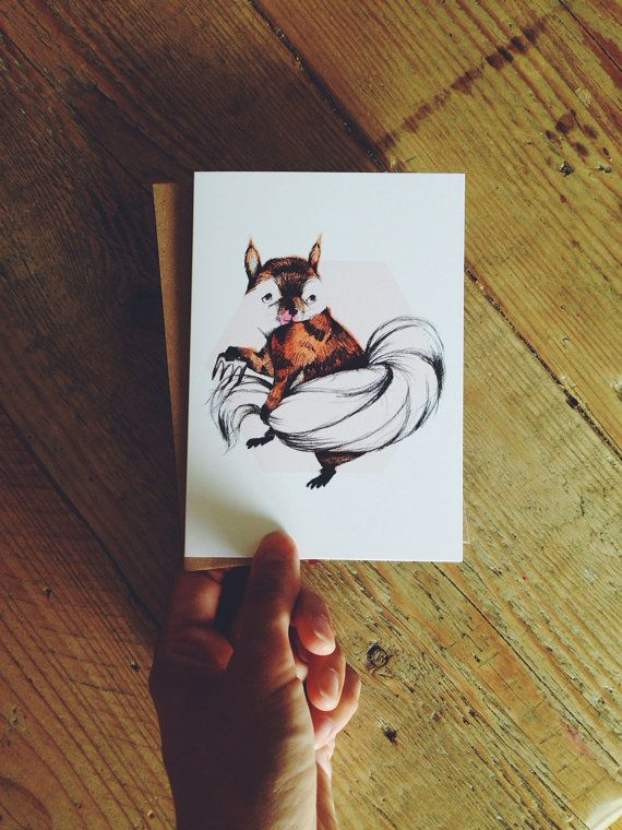 Shy squirrel pencil illustration greeting card with envelope auf Etsy, 3,50€