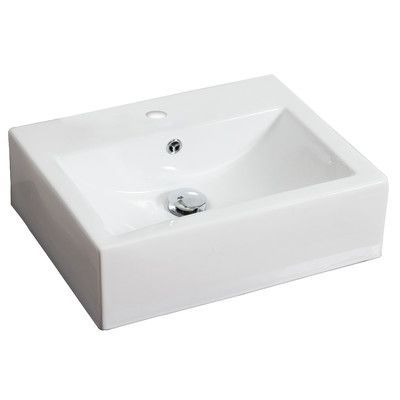 American Imaginations Rectangle Vessel Sink With Overflow Wall