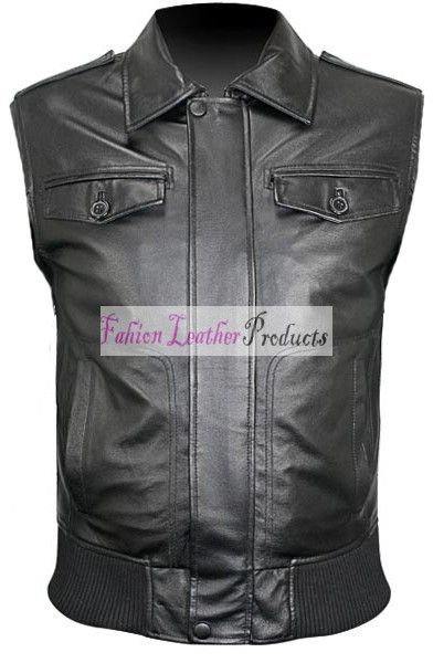 MEN'S HAND-MADE BOMBER BLACK LEATHER VEST