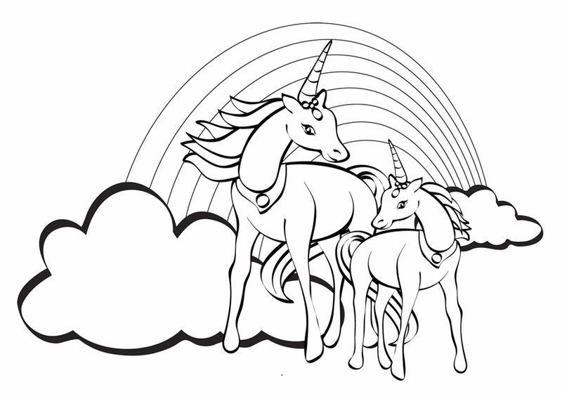2 unicorn flying on the sky coloring picture  unicorn