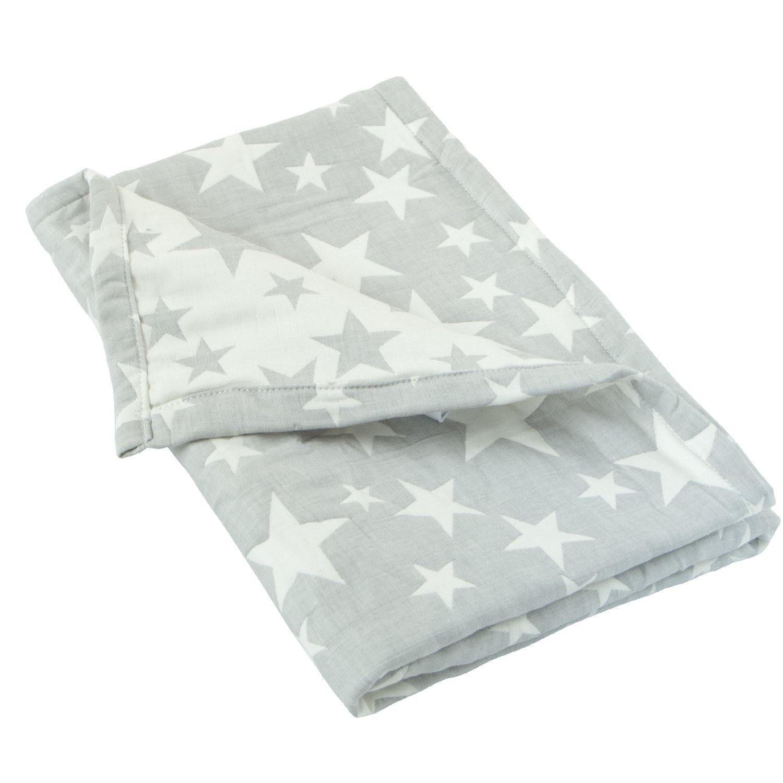 3 Layer Muslin Cotton Jacquard Baby Blanket - Grey Star