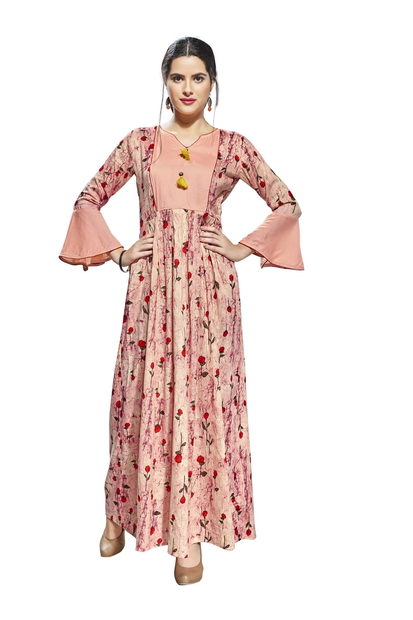 1d097476f Buy Anuswara Pink Color Rayon Printed Ankle Length Anarkali Kurti online. ✯  100% authentic products, ✯ Hand curated, ✯ Timely delivery, ...