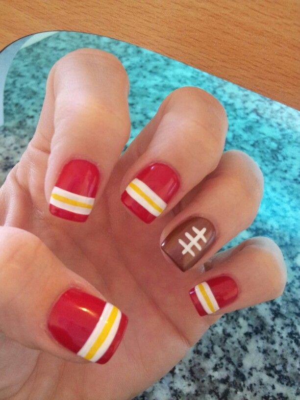 Kansas City Chiefs Inspired Nails Nail Art Pinterest Kansas