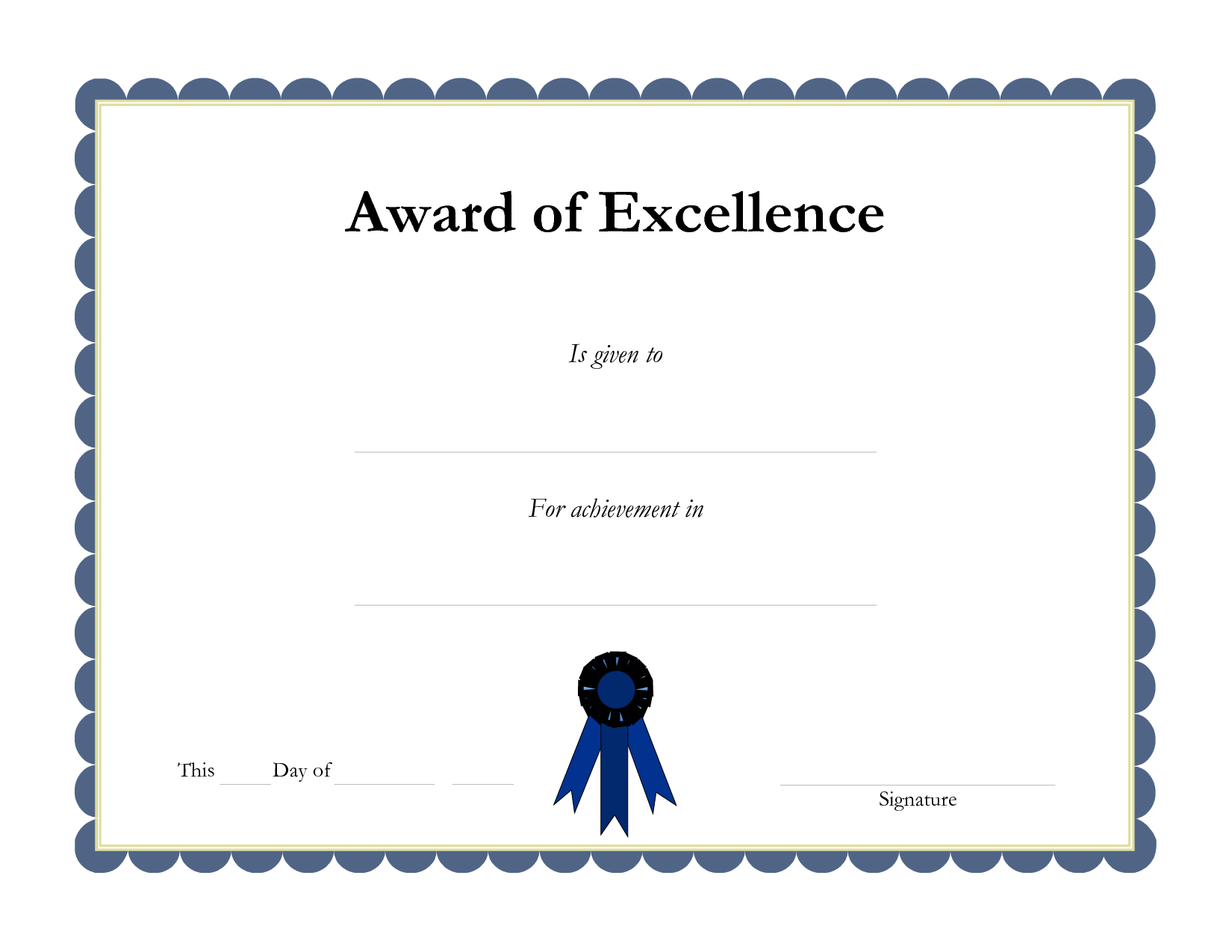 Award template certificate borders award of excellenceis given tofor achievement inthisday of signature