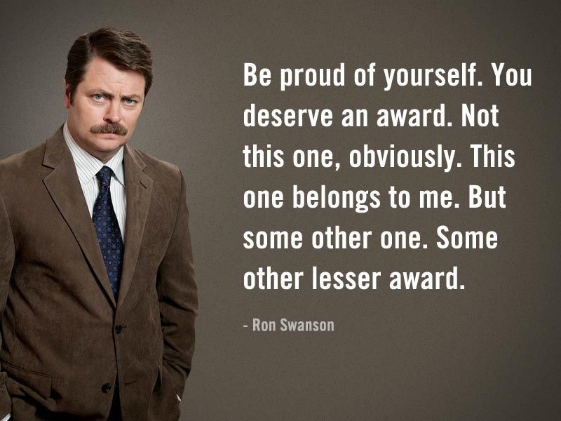 Pin on TV is the BEST!!  Ron Swanson Quotes Salad