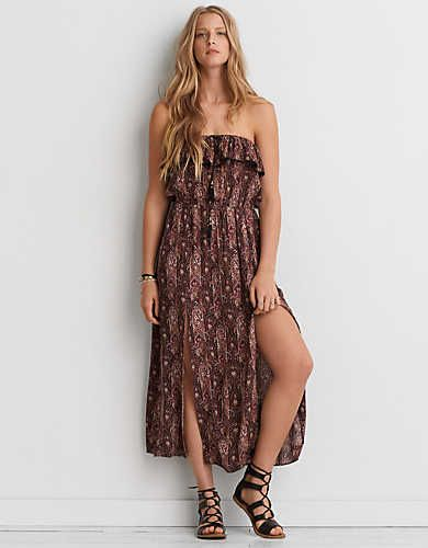 d50062065267 AEO Ruffle Strapless Maxi Dress , Black   American Eagle Outfitters ...