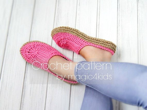 Crochet pattern- women clogs with rope soles,soles pattern included ...