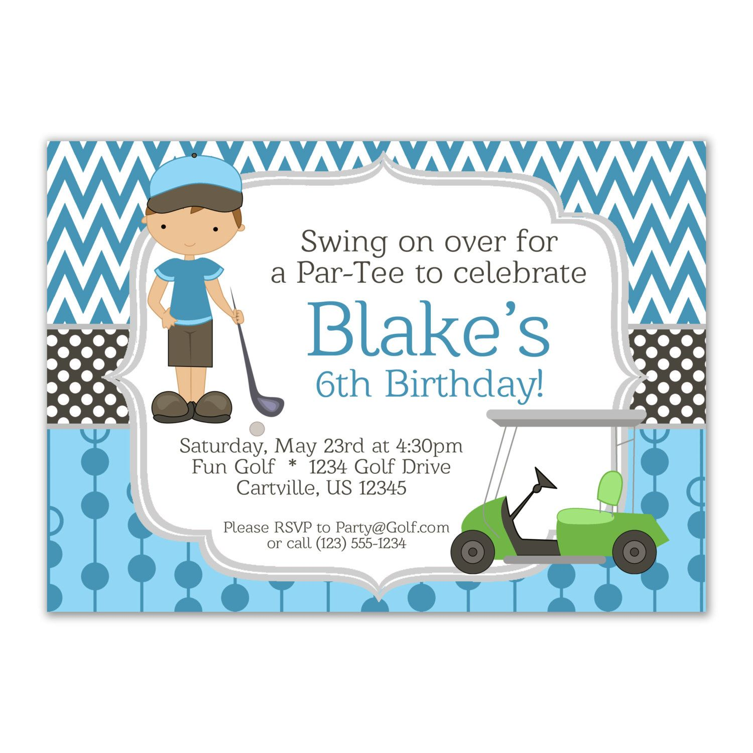 Golf invitation blue chevron and boy golfer by purpleberryink golf invitation blue chevron and boy golfer with a lime green golf cart personalized birthday party invite a digital printable file filmwisefo Choice Image