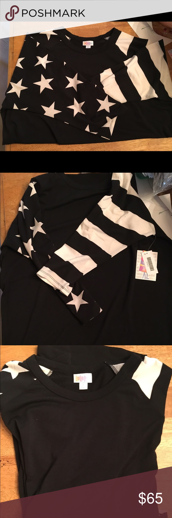 LulaRoe XL black stars and stripe Randy New with tags. Tried on. Runs a little small. Would fit a normal LLR large or a small XL. It's a little too smug for me. I love it but need a size up. Has a small black dot on the sleeve. It is a manufacturer defect. Most people wouldn't notice but I'm OCD about stuff like that. No returns. By purchasing you understand about the defect. LuLaRoe Tops