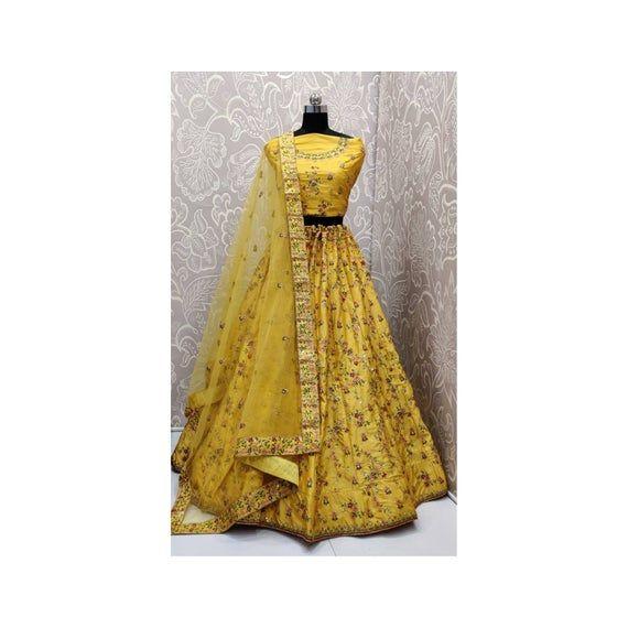Yellow multy embroidery work with diamond touch bridal wedding lehenga choli for women, chaniya choli, bridal lehenga, designer lehenga #chaniyacholi