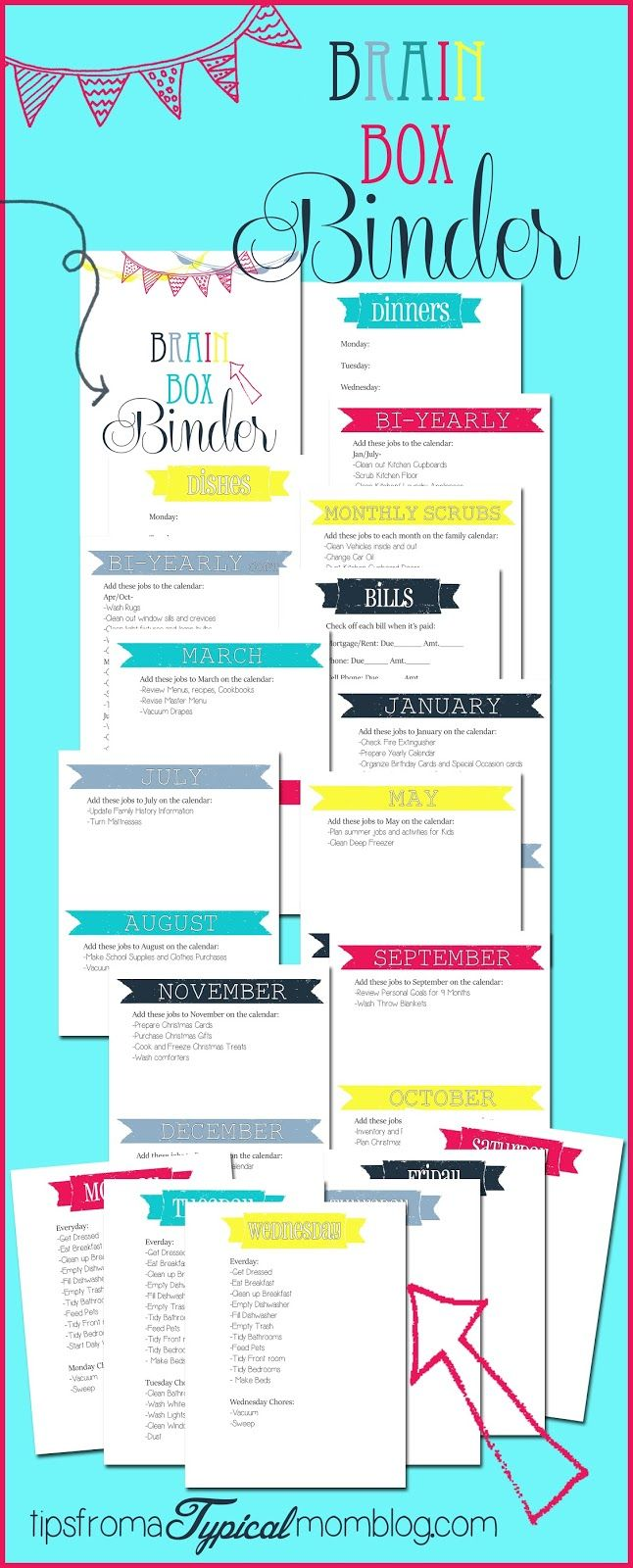 """Just Say NO to Spring Cleaning and have a continually clean home all year round using this """"Brain Box"""" binder from Tips From a Typical Mom."""