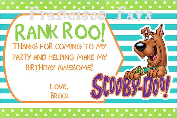 Scooby Doo Birthday Party Thank You Card Diy By Franciscofavs 3 00